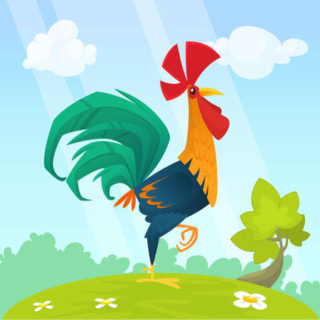 Cute vector cartoon rooster illustration isolated on summer meadow background Vectores