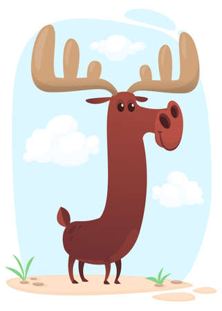 Funny cartoon moose. Vector moose character illustration isolated
