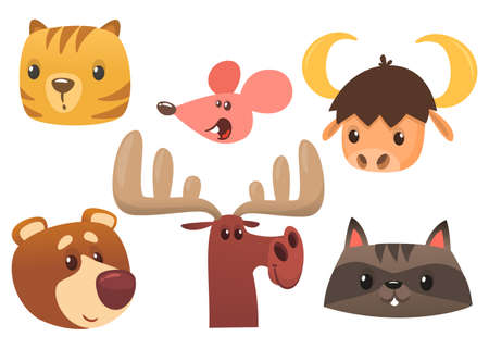Cartoon forest animal characters. Wild cartoon cute animals collections vector. Big set of cartoon forest animals flat vector illustration. Bear, mouse, raccoon, marmot or chipmunk or hamster, moose elk