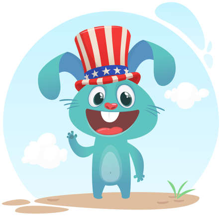 Happy fourth of July. Independence day of America. Cartoon Rabbit wearing Uncle Sam hat. Vector illustration