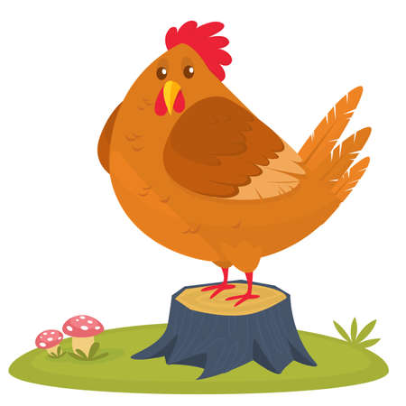 Cartoon big fat hen isolated on a white background. Vector illustration of a brown chicken Vectores