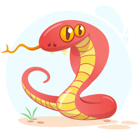 Cartoon red snake. Vector illustration isolated on white
