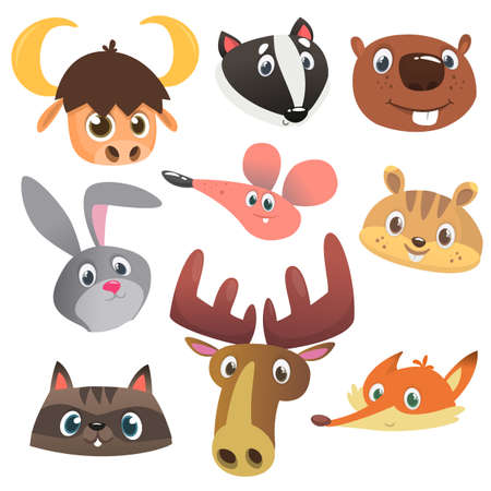 Cartoon forest animal characters. Wild cartoon cute animals collections vector. Big set of cartoon forest animals flat vector illustration. Badger, mouse, raccoon, marmot or chipmunk or hamster, moose elk fox bunny rabbit
