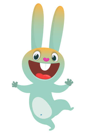 Happy dancing bunny cartoon. Easter vector rabbit illustration isolated