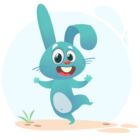 Cartoon Bunny Rabbit Character. Vector illustration. Isolated on white Vectores