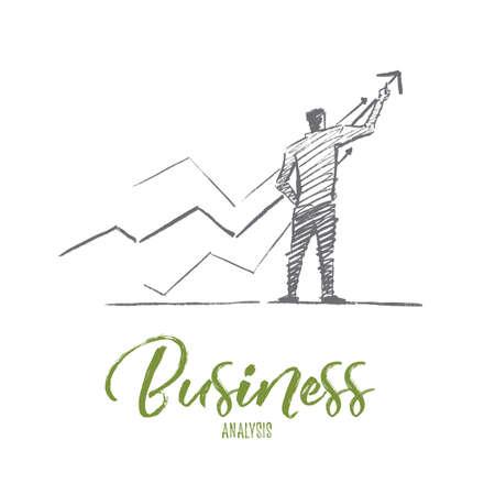 벡터 손으로 그려 비즈니스 분석 스케치 및 성공 개념. 사업가 긍정적 인 역학 및 비즈니스 분석의 지표를 드로잉합니다. 레터링 비즈니스 분석 일러스트
