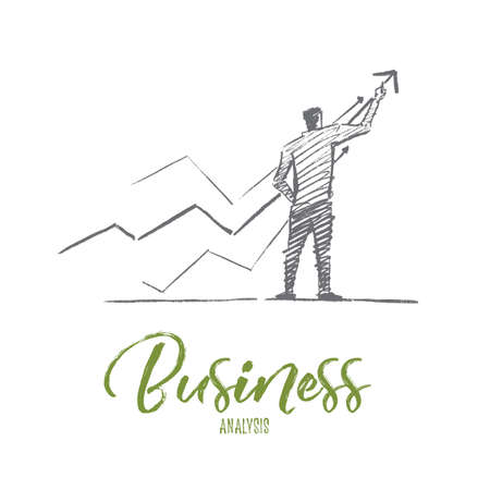 Vector hand drawn business analysis sketch and success concept. Businessman backwards drawing indicators of positive dynamics and business analysis. Lettering Business analysis