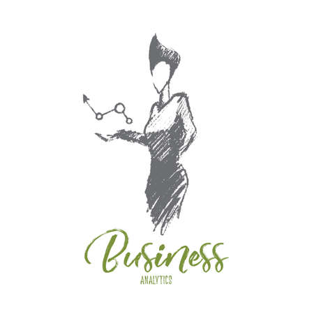 Vector hand tirée des analyses d'affaires esquisse et le concept de réussite. Femme d'affaires tenant symbole de la dynamique d'affaires positives dans les mains. Lettrage analyse d'affaires