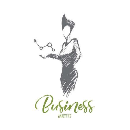 Wektorowa ręka rysujący biznesowy analityka nakreślenie i sukcesu pojęcie. Biznesowej kobiety mienia symbol pozytywne biznesowe dynamika w rękach. Napisanie analityki biznesowej