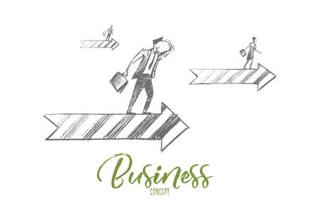 Vector hand drawn business concept sketch. Business people looking ahead and going on arrows meaning successful business and positive dynamics. Business concept lettering Illustration