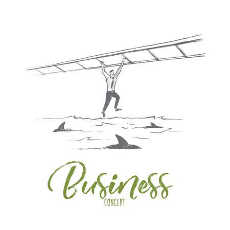 Vector hand drawn business concept sketch. Business man hanging on suspended ladder and balancing over sea full of sharks. Lettering Business concept Reklamní fotografie - 67484140