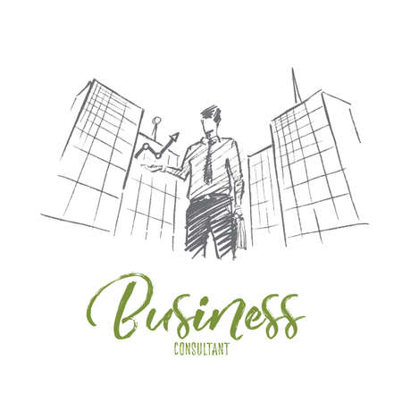 Vector hand drawn business concept sketch. Businessman standing on background of office building and holding indicator meaning progress and positive dynamics in business. Lettering Business concept