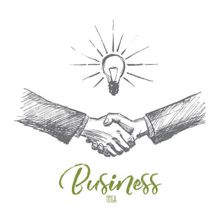 obtain: Vector hand drawn business idea sketch. Handshaking of two businessmen meaning successful meeting or deal. Lettering Business idea