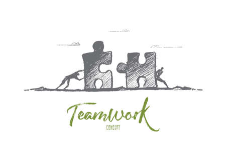 Vector hand drawn team concept sketch. Two men moving puzzle pieces towards each other to assemble it. Lettering Teamwork concept 일러스트