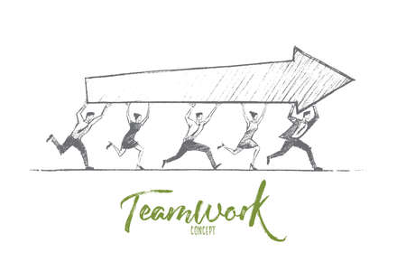 common people: Vector hand drawn teamwork concept sketch. Team of five people running together and carrying indicator of success in common business. Lettering Teamwork concept