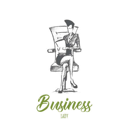 superintendent: Vector hand drawn business lady sketch. Business woman sitting leg to leg on office chair and holding documents. Lettering Business lady