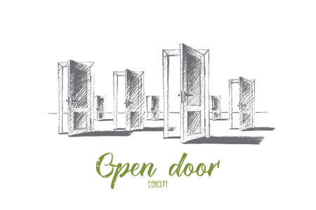 right choice: Vector hand drawn open doors concept sketch. Many open doors meaning problem of right choice and new opportunities. Lettering Open door concept
