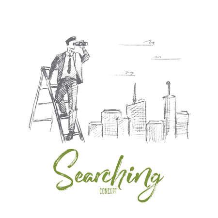 벡터 손으로 그려진 된 검색 개념 스케치입니다. stepladder에 서 서 배경에서 큰 도시와 쌍안경을 통해 찾고 사업가. 레터링 검색 개념