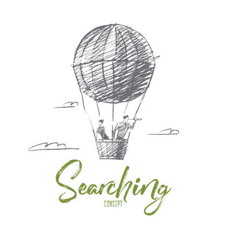seeking assistance: Vector hand drawn searching concept sketch. Business man and woman flying on air ballon and looking through spyglass. Lettering Searching concept