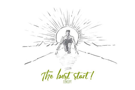 Vector hand drawn the best start concept sketch. Business man sitting on his haunches on road and preparing to start running. Lettering The best start concept Çizim