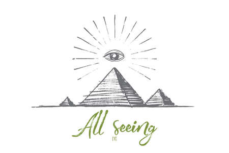 Vector hand drawn all seeing eye concept sketch. All seeing eye or eye of providence pyramid symbol. Lettering All seeing eye Illustration