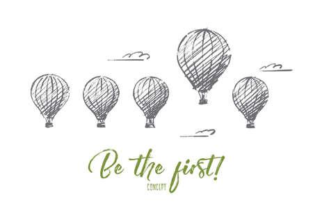 벡터 손으로 그린 fisrt 개념 스케치 수 있습니다. 대부분의 것보다 하나 높은 하늘에서 5 공기 ballons. 첫 번째 개념으로 편지 쓰기 일러스트