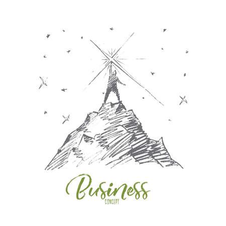 Vettore disegnato a mano concetto di business schizzo. Bisinessman in piedi in cima alla collina e toccante stella luminosa dal cielo. concetto Lettering Affari