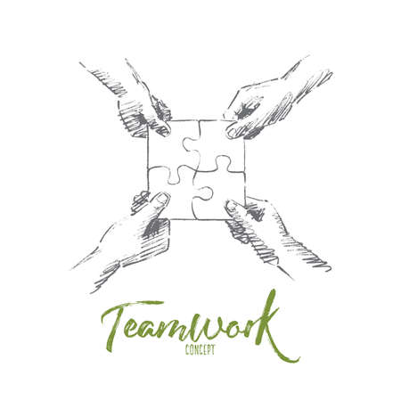 Vector hand drawn teamwork concept sketch. Human hands folding four parts of one puzzle torether. Lettering Teamwork concept Illustration
