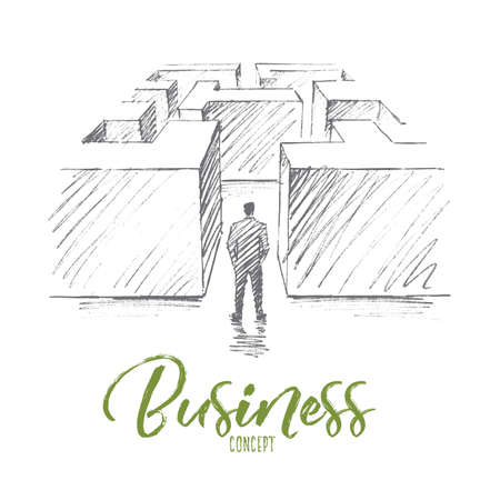 hesitation: Vector hand drawn business concept sketch. Bisinessman standing backwards at entrance of maze and hesitating whether to go or not. Lettering Business concept Illustration
