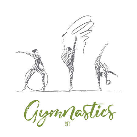 Vector hand drawn gymnastics set concept sketch. Three female gymnasts with ribbon, hoop and ball showing their flexibility and skills. Lettering Gymnastics set Reklamní fotografie - 67959354