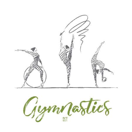 Vector hand getrokken turnen ingesteld concept van schets. Drie vrouwelijke gymnasten met lint, hoepel en bal tonen hun flexibiliteit en vaardigheden. Belettering Gymnastics set