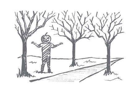 frighten: Vector hand drawn Halloween concept sketch. Man with head made of big pumpkin standing near autumn alley ready to frighten
