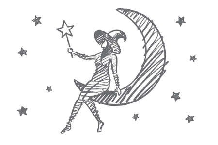 all caps: hand drawn Halloween magic girl concept sketch. Halloween girl in cap sitting on Moon in sky with stars and holding magic wand in hand Illustration