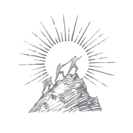 Vector hand drawn teamwork concept sketch. Group of people trying to climb up mountain and helping each other with hand, sun at background