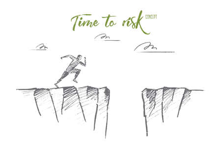 mountain pass: hand drawn time to risk concept sketch. Man running to edge of mountain and ready to jump to other side over deep pass. Lettering Time to risk concept