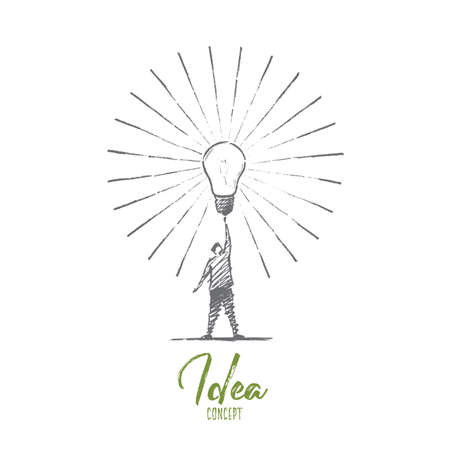 raised hand: hand drawn Idea concept sketch. Man standing and touching big shining bright light bulb on raised hand meaning getting great idea. Lettering Idea concept Illustration