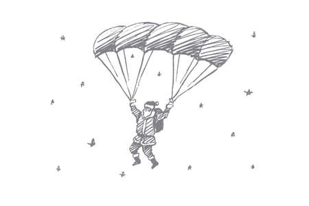 Vector hand drawn Santa Claus concept sketch. Santa Claus flying down on parachute in the air full of snowflakes