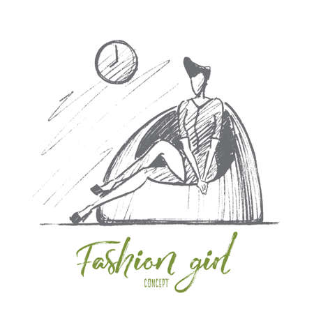 mini dress: Vector hand drawn Fashion girl concept sketch. Stylish woman in mini dress with cute hairstyle sitting on fashionable chair under wall clock. Lettering Fashion girl concept Illustration