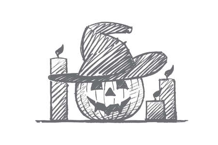 Vector hand drawn Halloween concept sketch. Scary pumpkin with mans face in whitchs hat and candles