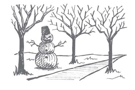 alley: Vector hand drawn Halloween concept sketch. Snowman made of three pumpkins with scary mans face, bucket on head and dry tree twigs as hands standing near autumn alley Illustration
