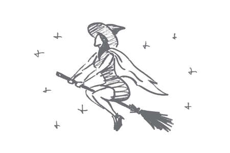 all caps: Vector hand drawn Halloween concept sketch. Halloween magic woman flying on broomstick in night sky full of stars Illustration