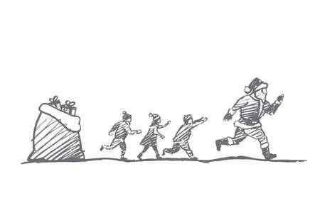 Vettore disegnato a mano Natale concetto di schizzo. I bambini piccoli cercando di recuperare scappare Babbo Natale