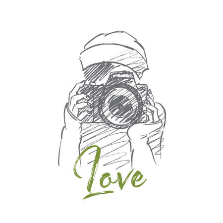 love photo: Vector hand drawn Love photo concept sketch. Young hipster girl holding camera and making photo. Lettering Love