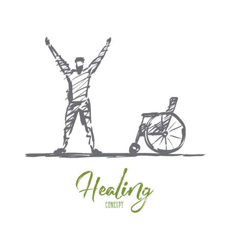 needless: Vector hand drawn healing concept sketch. Happy man standing under the Sun and holding needless crutches on raised hands. Lettering Healing concept