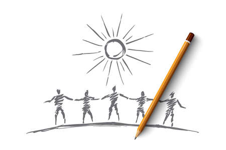 common goal: Vector hand drawn team concept sketch and pencil over it. Silhouettes of people standing and holding each others hands under the Sun