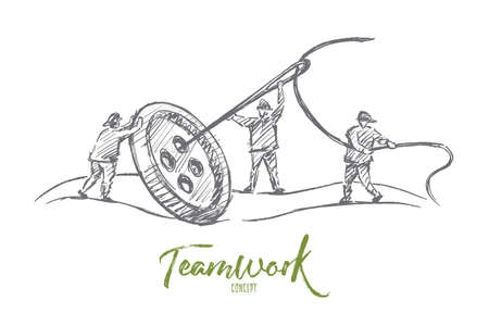 common goal: Vector hand drawn teamwork concept sketch. People trying to sew big button with huge needle together. Lettering Teamwork concept Illustration