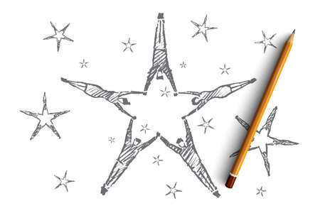 common goal: Vector hand drawn teamwork concept sketch and pencil over it. People lying on floor and forming stars with their raised hands Illustration
