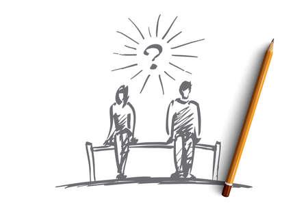 それを鉛筆で描かれたチェスのカップル質問コンセプト スケッチを引き渡します。男と女の間のスペースのベンチに座って  イラスト・ベクター素材