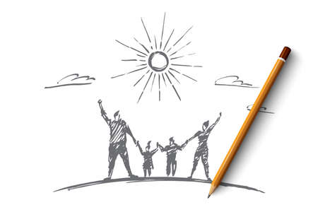 raised: hand drawn family concept sketch with pencil over it. Happy man, woman and two children standing and holding each other with raised hands under the Sun Illustration