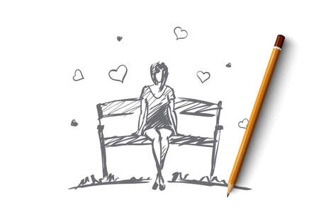 hand drawn girl hearts concept sketch with pencil over it. Young girl in love sitting on bench